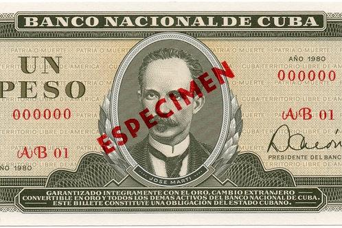 1980 CUBA 1 PESO SPECIMEN UNCIRCULATED