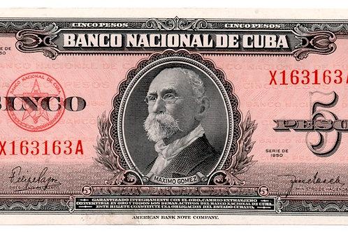 1950 CUBA 5 PESOS UNCIRCULATED MAXIMO GOMEZ # SERIES ROJO ESCASO.