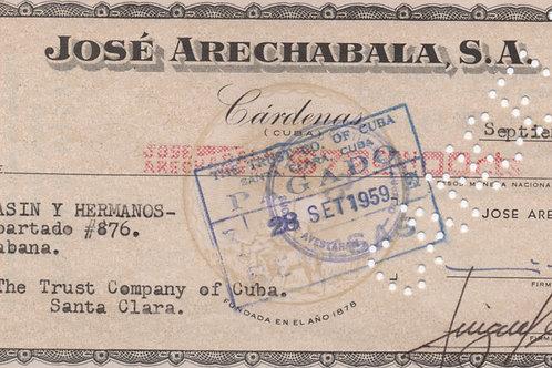 CARDENAS CUBA CHEQUE JOSE ARECHABALA S.A. 1959 A CASIN Y HERMANOS 72.00 PESOS