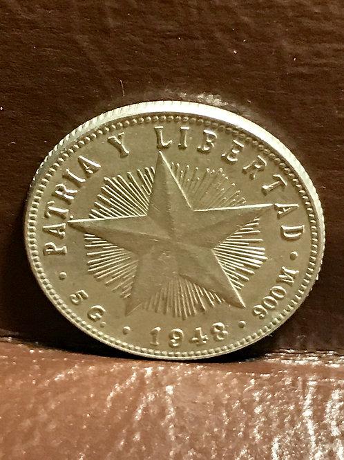 Cuba 1948 Silver 20 centavos patria y libertad.