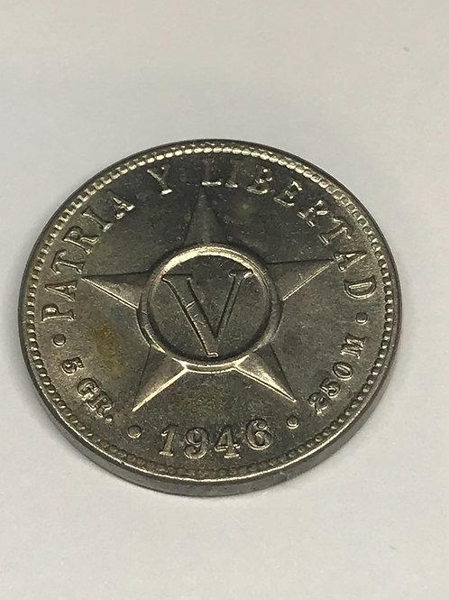 Cuba 1946 unc 5 cents pre Castro.see condition on photo.