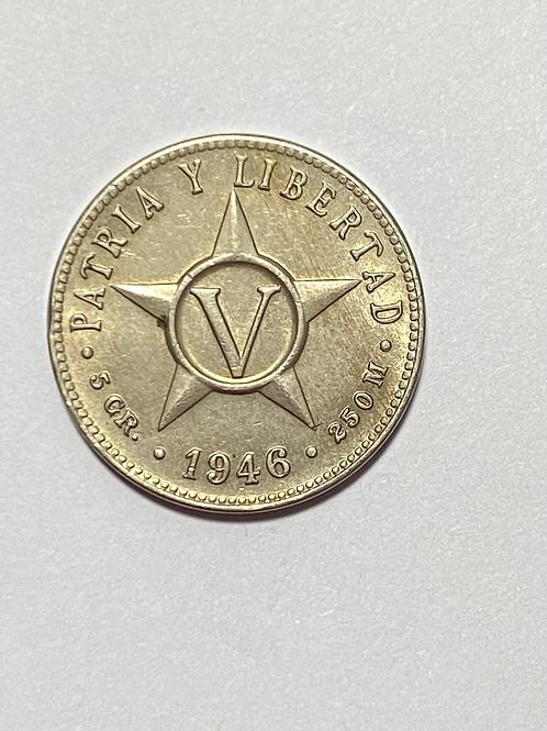 Cuba 5 centavos 1946 uncirculated
