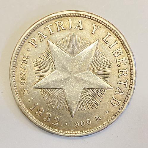 CUBA 1PESO 1932 PLATA