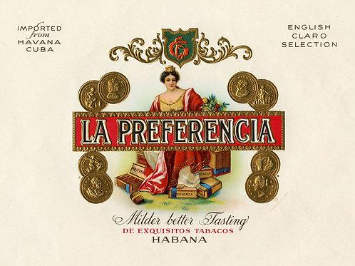 1920s period La Preferencia Cuban Cigar label. Measures 9 x 7.5 inches. Very Goo