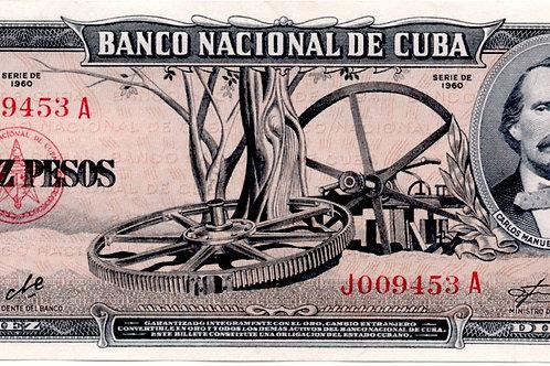 10 PESOS CUBA 1960 # SERIES J OO9453 A FIRMA CHE.