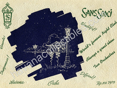 CUBA HABANA1950s CubaSans Souci Night Club & Restaurant Souvenir Photo Folder.