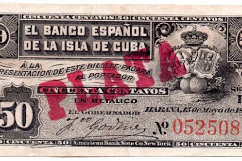 cuba 50 centavos 1896 el banco español de la isla de cuba cuño plata