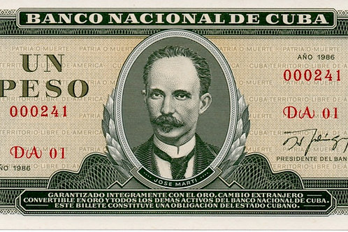 CUBA 1 PESO SERIE ### LOW 1986 UNCIRCULATED JOSE MARTI.