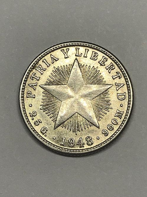 1948 CUBA 10 Cent Silver República pre Castro. See condition on photo.