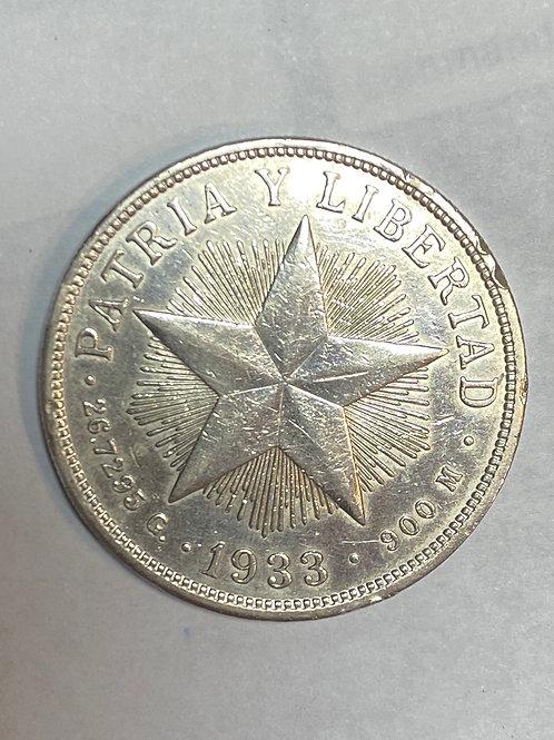 CUBA 1933 PESO PLATA