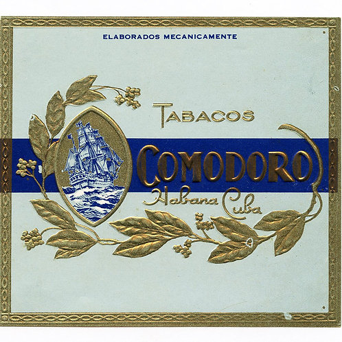 1950s period Tabacos Comodoro Cuban Cigar label. Measures 4.3 x 4 inches. Very G