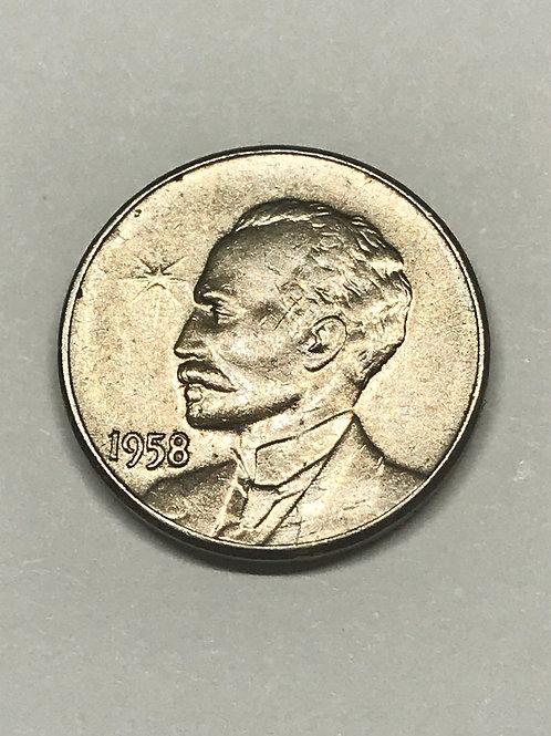 Cuba 1958 José Martí 1 Cent. See condition on photo.