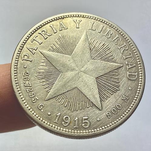 CUBA 1 PESO 1915 PLATA AÑO ESCASO