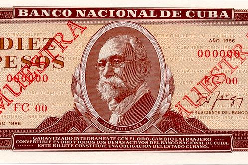 CUBA 10 PESOS MUESTRA 1986 MAXIMO GOMEZ UNC.