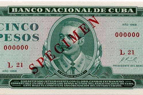 1968 CUBA 5 PESOS SPECIMEN UNCIRCULATED