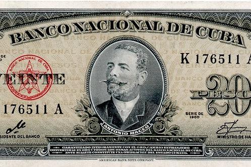 20 PESOS CUBA 1960 FIRMA CHE UNC ESCASO.