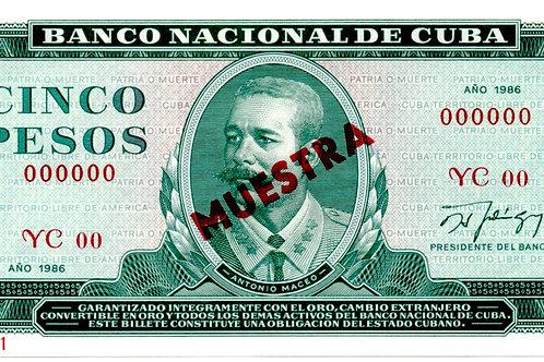 CUBA 5 PESOS 1986 MUESTRA ANTONIO MACEO.