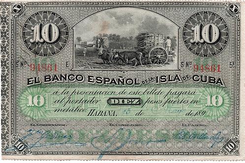 1896 CUBA 10 PESOS EL BANCO ESPAÑOL FIRMAS DIFERENTES RARO ESCASO UNC.