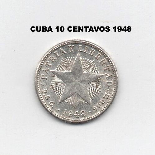 CUBA 10 CENTAVO 1948 SILVER  X FINE  VERY SCARCE PRE CASTRO.
