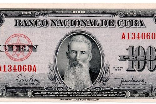 CUBA 100 PESOS 1950 UNCIRCULATED AGUILERA