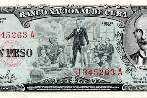 CUBA 1959 1 PESO JOSE MARTI CON LOS TABAQUEROS DE TAMPA SIN CIRCULAR