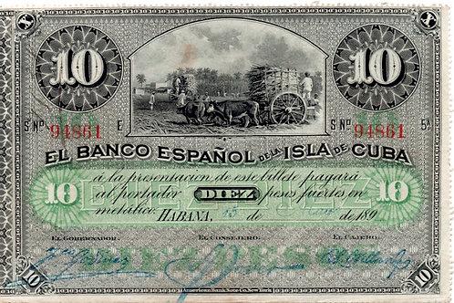 CUBA 1896 COLONIAL 10 PESOS NO CUNO DIFERENTE VARIANTE LISTO PARA CERTIFICAR.
