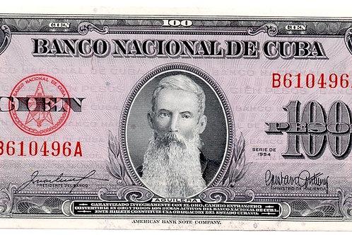 """UNC1954CUBA 100 PESOS AGUILERA. """"1954"""""""