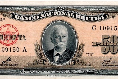 50 PESOS CUBA 1960 FIRMADO CHE UNC RARE ESCASO