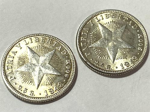 CUBA 10 centavos 1948-1949 silver súper condición.