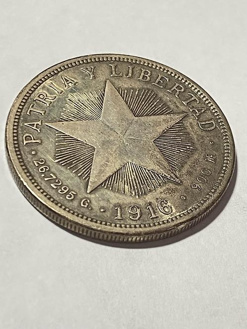 CUBA 1916 SILVER 1 PESO X FINE.