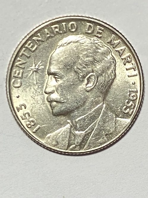 CUBA 25 CENTAVOS UNC SILVER CENTENARIO DE JOSÉ MARTI 1953.