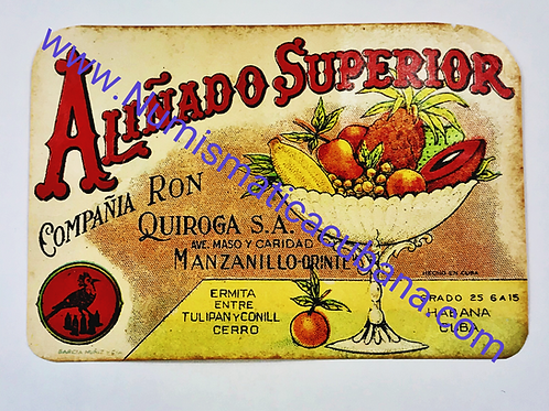 1950s HABANA CUBA RON ALIÑADO SUPERIOR COMPAÑÍA RON QUIROGA LABEL LUGGAGE