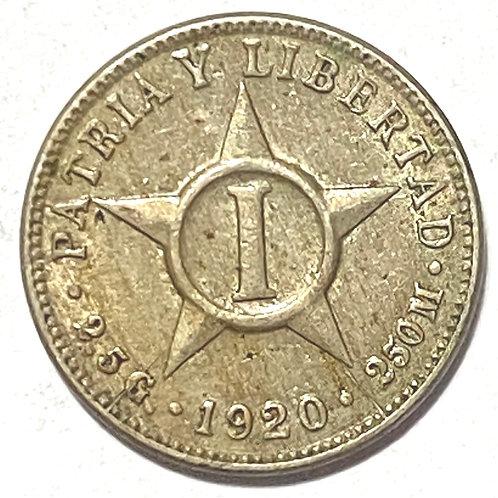 CUBA 1 CENTAVO 1920 SÚPER CONDICIONES DIFICIL