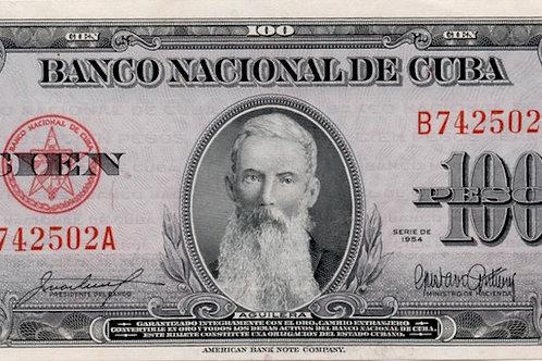 CUBA 100 PESOS 1954 AGUILERA UNC ESCASO.