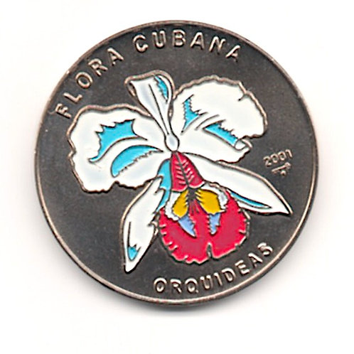 2001 CUBA 1 PESO ORQUIDEAS FLORA CUBANA  UNCIRCULATED