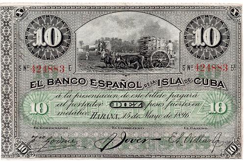 1896 CUBA 10 PESOS EL BANCO ESPAÑOL SIN CUÑO PLATA.