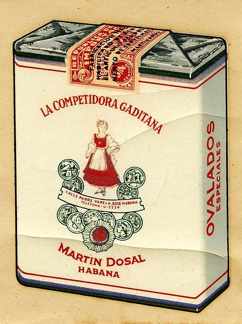 1940s period Cuba Competidora Gaditana Cigarettes advertising decal . 3 x 3.7 in
