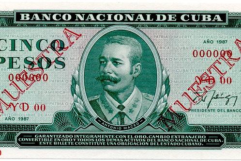 1987 MUESTRA CUBA 5 PESOS UNCIRCULATED BANCO NACIONAL.