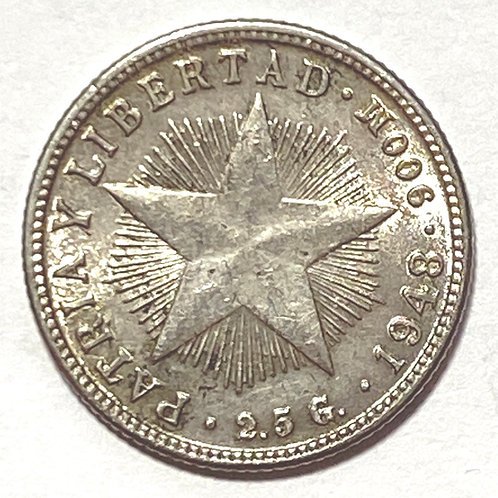 CUBA 10 CENTAVOS 1948 PLATA #a005.
