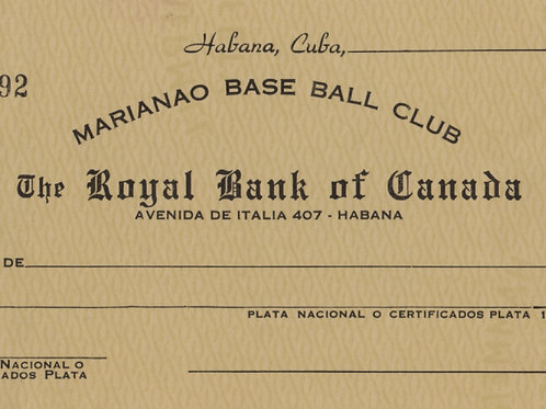 CUBA 1950s MARIANAO BASE BALL CLUB CHEQUE EN BLANCO SUPER CONDICION.
