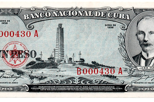 1 PESO CUB 1956 # LOW B0009430  JOSE MARTI UNCIRCULATED SEE CONDITION ON PHOTO.