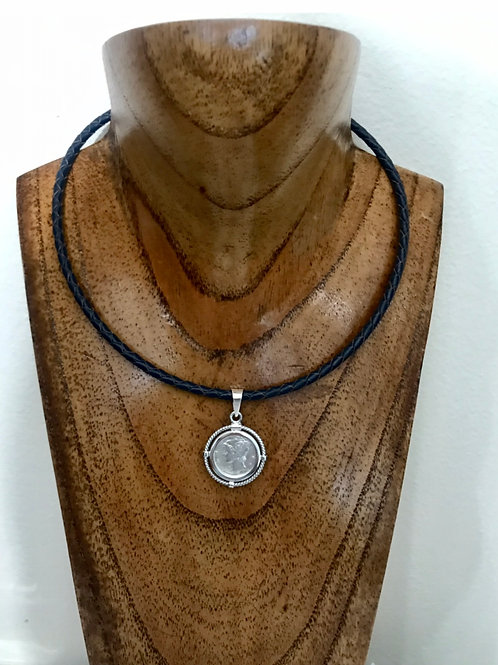 """leather necklace with original USA Silver coin 10 cents """"cute for summer"""""""