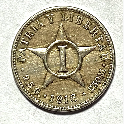 CUBA 1 centavo 1916 año escaso súper condición