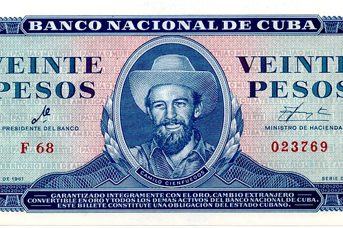 20 PESOS 1961 FIRMA CHE UNCIRCULATED SCARCE.