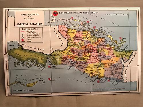 RON BACARDI Mapa provincia de Santa Clara, Cuba.