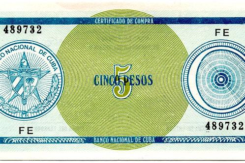CUBA 5 PESOS CERTIFICADO DE COMPRA RARO ESCASO SERIE C DE BOLA FE.
