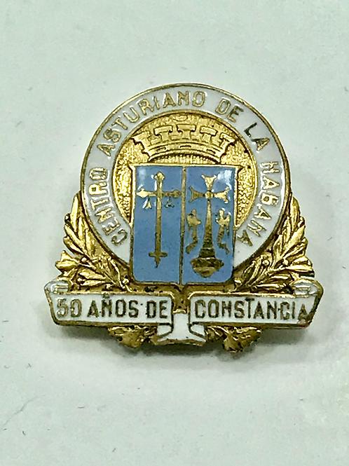 CUBA 1950s CENTRO ASTURIANO DE LA HABANA 50 AÑOS DE CONSTANCIA PIN FRENTE ORO.