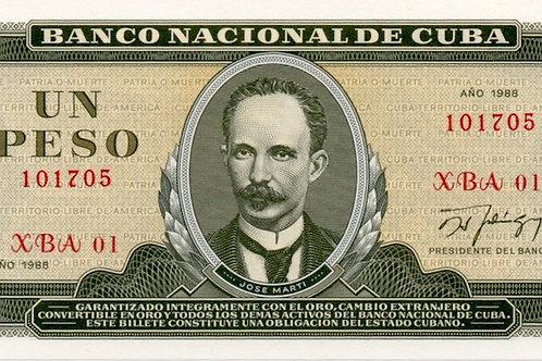 1 PESO CUBA 1988 SERIE XBA 01 REMPLAZO UNCIRCULATED SCARCE ESCASO BILLETE.