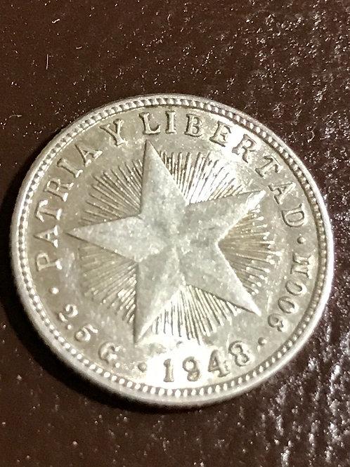 Cuba 10 centavos 1948 Silver patria y libertad