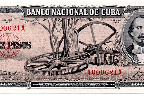 1956 cuba año raro escaso LOW #A000621A UNC 10 PESOSCARLOS M. CESPEDES.